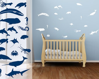 Sea Life Wall Decals | nautical wall decals nautical nursery whale narwhal shark octopus squid dolphins sea turtle stingray crab jellyfish