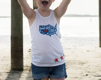 Girls 4th of July - Fourth of July Tank - 4th of July Shirt - Patriotic Tank - Land That I Love - Fourth of July Outfit - Baby Girl Fourth