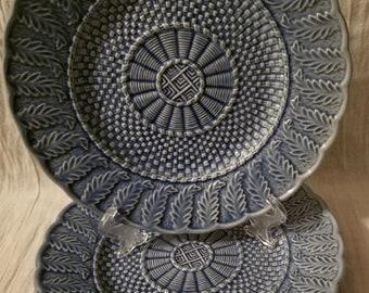 Basketweave Blue by Bordallo Pinheiro, Set of 2 Plates