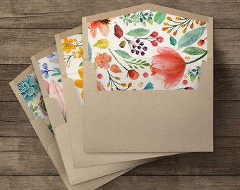 Floral lined envelopes - 20 pieces (5 of each illustration)