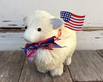 AGD Patriotic Decor - Adorable Sisal Sheep Lamb