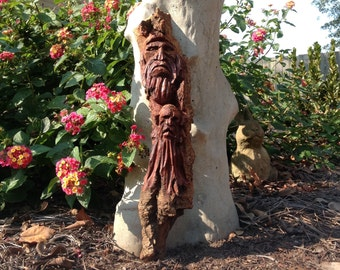 "Original 14"" hand carved wood spirit gnome elf cottonwood bark wooden sculpture mystical woodland folk art rustic home decor collectible"
