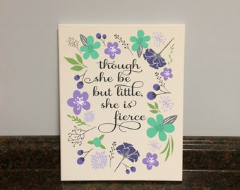 and though she be but little she is fierce print baby girl nursery girl nursery wall decor purple and mint floral nursery flowers girl gray