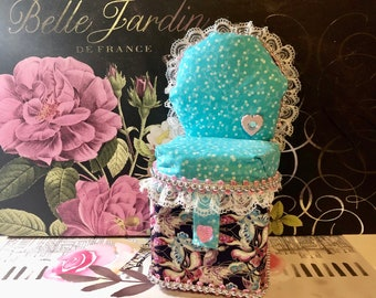 Chair Pincushion - Blue / Butterflies