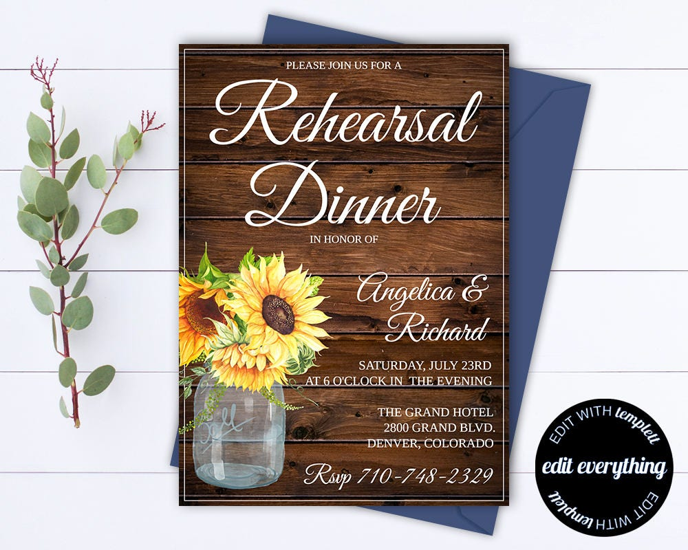 rustic wedding rehearsal dinner invitation template wedding