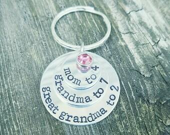 Mom Grandma Great Grandma Keychain - Custom Made - Birthstone Layered Key Chain - Mom Gift - Number of Grandkids