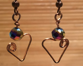 Antiqued Copper Heart Dangle Drop Earrings Wire Wrapped - Valentine Jewelry