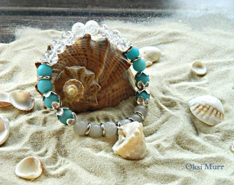 Braselet with blue white agat, natural shell, braselet for summer, braselet for cruise