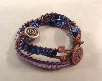Leather Wrap Bracelet with Copper and Cubix
