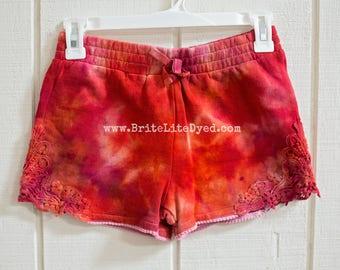 Tie Dye Shorts - YOUTH LARGE -  Girls 10-12 Shorts - Kids Clothing - Kids Shorts - Tye Dye Shorts- Cotton Shorts - Kids - Tye Dye - Tie Dye