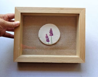Rustic botanical lavender wall art, mixed media framed ceramic floral burlap Mother's day wall hanging picture miniature, housewarming gift