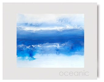 Blue Expressive Abstract Modern Art Painting Watercolor Matted Artwork OCEANIC Gift Small Unframed Contemporary DIY Home Wall Room Hanging