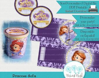 Princess Sofia Inspired Printable Mini Pringles Label & Lid Topper