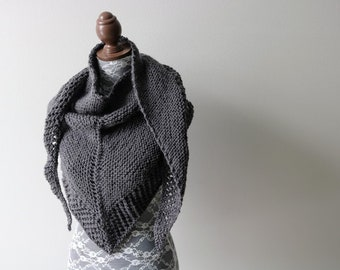 Knitted Knit Triangle Scarf, Bandanna Scarf, Shoulder Wrap, Shawl, Summer Scarf. Handmade in Charcoal Gray Yarn.