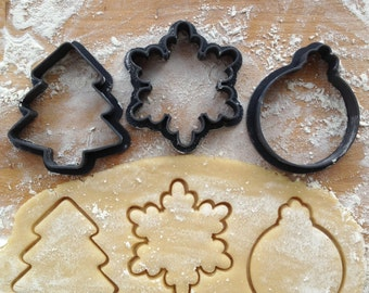 Cookie cutters set of 3. Snowflake cookie cutter. Christmas tree  cookie cutter. Ornament cookie cutter. Christmas set