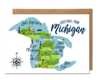 Greetings from Michigan - Greeting Card