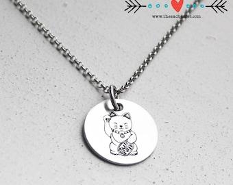 Lucky Cat Hand Stamped Necklace   Unique Jewelry   Maneki Neko Jewelry   Anime Lover   Cat Jewelry   Cat Necklace   Charm Necklace   Minimal