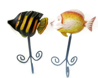 Vintage  Hand Painted Metal Tropical Fish on Wrought Iron Tripods - Vintage from Indonesia