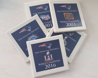 Patriots coasters etsy patriots superbowl coasters set of 5 with 5 different superbowls great to show your voltagebd Gallery