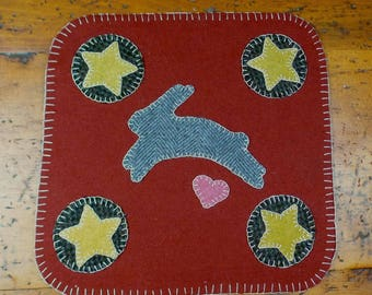 Bunny Penny Folk Art Penny Rug by Just Pennies by Linda - FINISHED Candle/Penny Mat