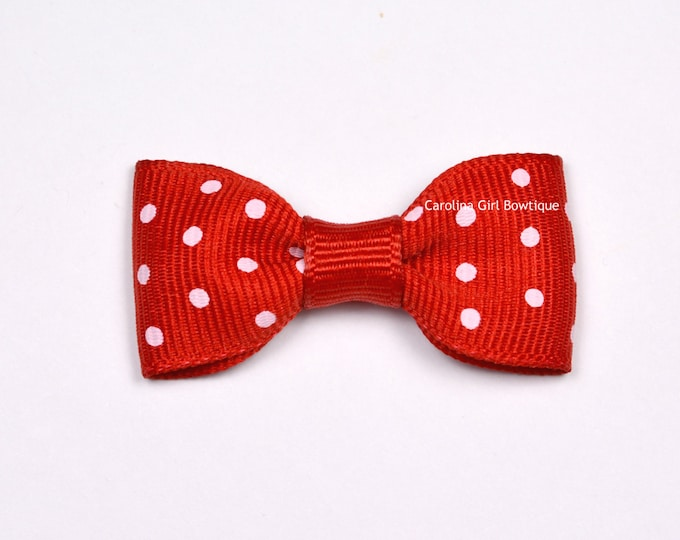 Red Dots Baby Hair Bow ~ 2 in. Bows with No Slip Grip ~ Small Hair Bows Newborns Toddler Girls