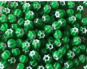 ON SALE 6/0 Green Preciosa Ornela Star Cornelian Rocaille Seed Beads 4mm 12 grams