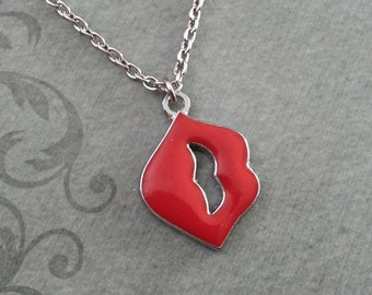 Red Lips Necklace, Kiss Jewelry, Enamel Kiss Pendant Necklace, Gift for Her, Valentine's Day Jewelry, Red Kiss Necklace Valentine's Necklace