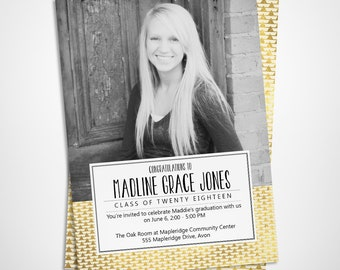 Gold graduation announcement and graduation party invitation - graduation photo card - printable or printed - class of 2018
