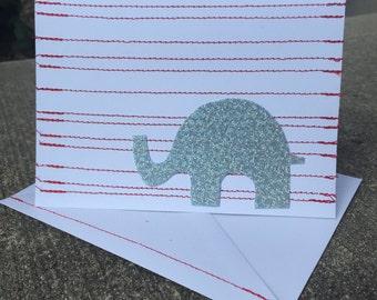 Striped or Zig Zag Elephant Handmade Greeting Card