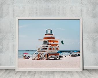 Digital Download, Fine Art Photography, Summer, Ocean, Landscape, Wall Art, Miami Beach Lifeguard Tower, Gift for Her, Gift for Him, #1