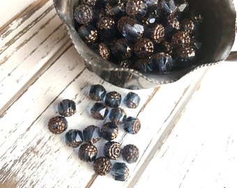 Czech Glass Beads - Relic Blue and Bronze - Cathedral Beads - 60 BEADS - 8 mm - Czech Glass Cathedral Beads (B13)