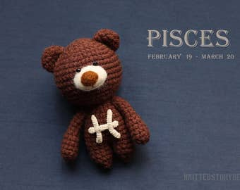 Pisces crochet teddy bear - miniature teddy bear, pisces gifts, pisces star sign, crochet zodiac toy, personalize teddy bear MADE TO ORDER