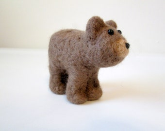 Brown Bear Felted Animal - Needle Felted Art - Grizzly Bear Miniature
