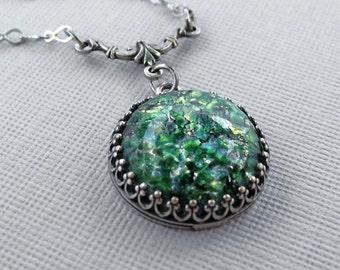 Large Opal Necklace, Fire Opal Pendant, Silver Vintage Glass Opal Necklace, Green Glass Opal, Round Opal Pendant Necklace, Opal Jewelry