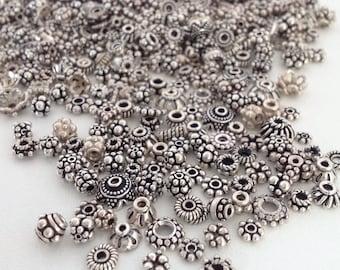 NEW Sterling Bead Mix - 30-60pcs - Bali Silver Beads - 925 Silver - Spacer Mix - Assorted Bali Beads - Sterling Findings - Bead Soup