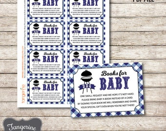Book Request Cards Navy Blue BabyQ, BBQ Baby Shower Book Request Insert, Printable PDF File, Instant Download