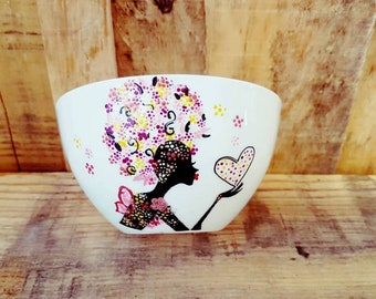 custom Bowl woman flower bright colors