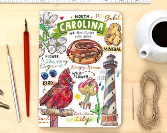 North Carolina notebook, blank journal, state art, state symbols, illustration, personalization option.