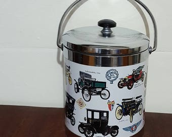 Ice Bucket with old  Cars, Great vintage  gift for him or old car enthusiast!!!