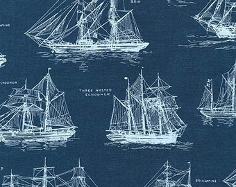 Down By The Sea Ships 16029-9 Navy Fabric