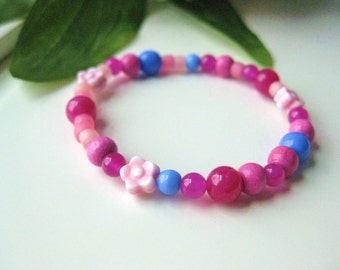 SALE: Girls Bracelet Pink and Blue with pink flowers, Beaded, Small, GBS 118