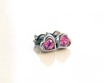 Heart Stud Earrings ~ Teeny Tiny Pink Heart Earrings. Swarovski Light Rose Heart Stud Earrings. Bridesmaid Earrings. Titanium Post Earrings