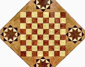 Bubinga and Hackberry with Star Chess Board