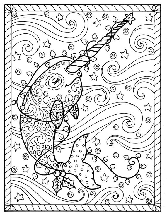 Narwhal Christmas Coloring pages