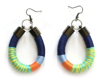 Colorful Tribal Earrings, Statement Rope Earrings, Funky Earrings, Color Block Earrings, African Style Earrings