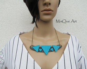 Statement Necklace Black Turquoise with triangles