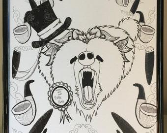 Papa Bear BEWARE!, A4 Print, Digital Art, Papa Bear, Father's Day, Gift, For Him