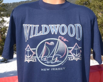 vintage 90s t-shirt WILDWOOD new jersey sail boat soft thin tee XL large navy blue