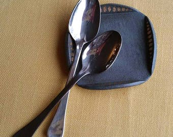 Ceramic Spoon Rest, Dark Gray Spoon Rest, Small Trinket Dish