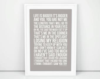 losing my religion Poster Song Wall Print Unframed A4 A3 Sizes Gift Printed